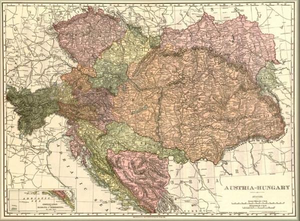 magyarország ausztria térkép Magyarország és Ausztria térkép 1906 angol nyelvű magyarország ausztria térkép