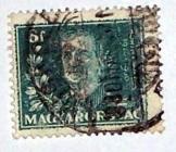 Horty Miklós kormányzó 6 fillér bélyeg bélyegzett