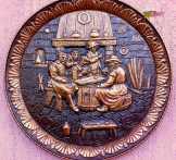 Kártyacsata, antik kocsmajelenet falidombormű
