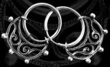 Félhold formájú füldísz függő 20mm átmérőjű ezüst