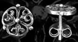 Körkörös palmettás fülbevaló 11mm ezüst