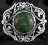 Medál zöld kővel, ezüst
