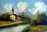 Kis templom a folyóparton olajfestmény 20*27 cm