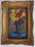 Egy váza virág miniatür festmény 10*8 cm