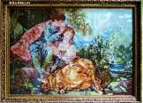 """Gyönyörű XVIII.sz.""""Szerelmes pár"""" Tű Gobelin kép"""