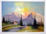 Ismeretlen festő: Alpesi táj 1 akvarell  35*25 cm