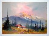 Ismeretlen festő: Alpesi táj 2 akvarell  35*25 cm