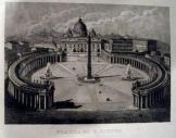 Vatikáni Szent Péter tér  Rómában metszeten