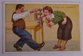 Csend, lesz a házban!humoros  képeslap postatiszta