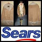 """SEARS férfi barna bőrdíszmű kabát """"44"""""""