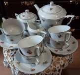 Zsolnay antik porcelán 15db os teás készlet