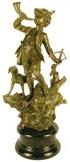 Kürtös vadász márványon bronz szobor kisplasztika
