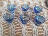 ANTIK ART DECO  kék  likőrős pohárkák 6+2 db